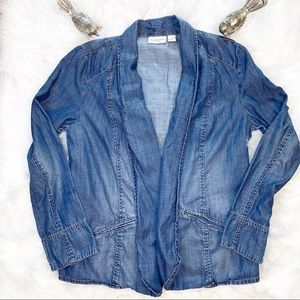 Chico's Platinum Chambray Open Denim Blazer Size 1
